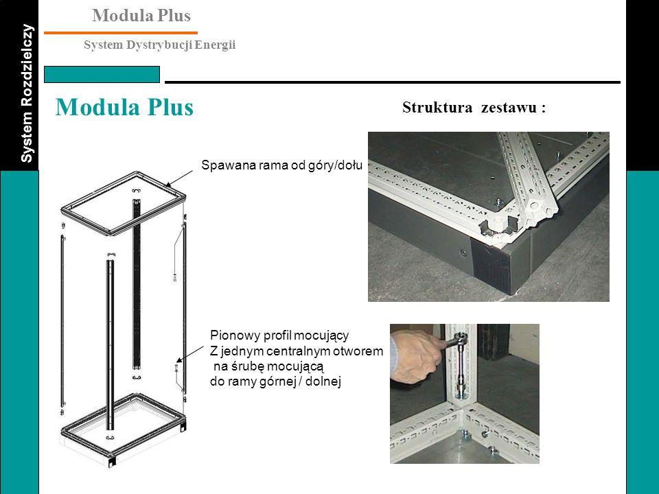 System Rozdzielczy Modula Plus System Dystrybucji Energii Modula Plus Zestawy Montażowe : Zestaw do wyłączników kompaktowych (MCCB) Możliwy montaż wyłączników (MCCB) pionowo lub poziomo Z lub bez członu różnicowo- prądowego (RCD) zestaw zawiera : osłonę z wycięciem, płytę montażową, komplet elementów mocujących