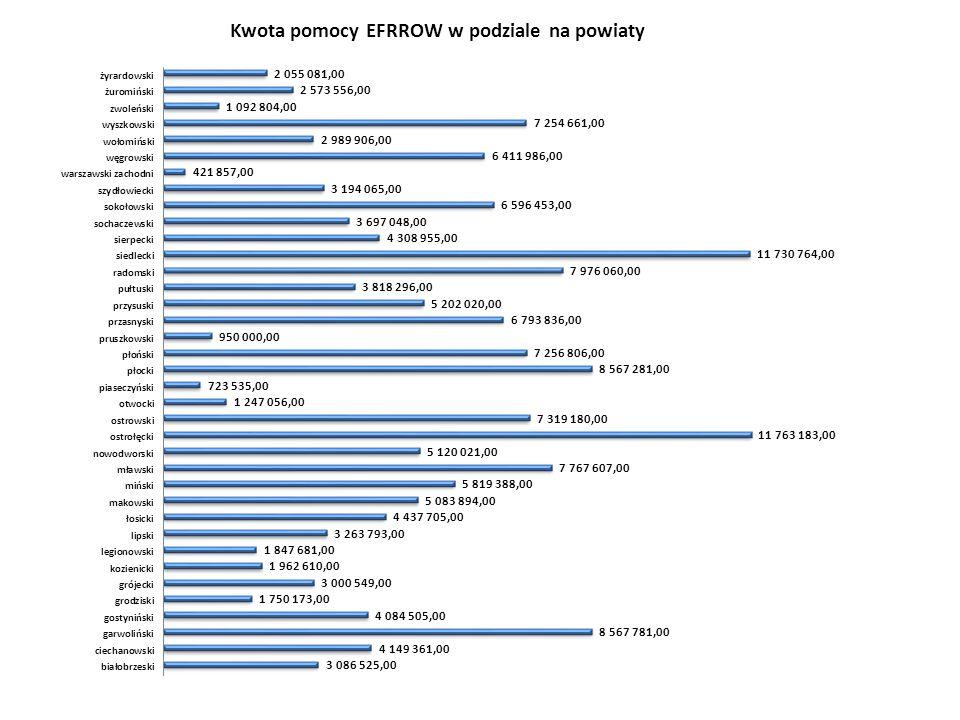 13 Oś 3 działanie: Odnowa i rozwój wsi  Zweryfikowano pozytywnie 546 wniosków o płatność na kwotę 125 mln zł.