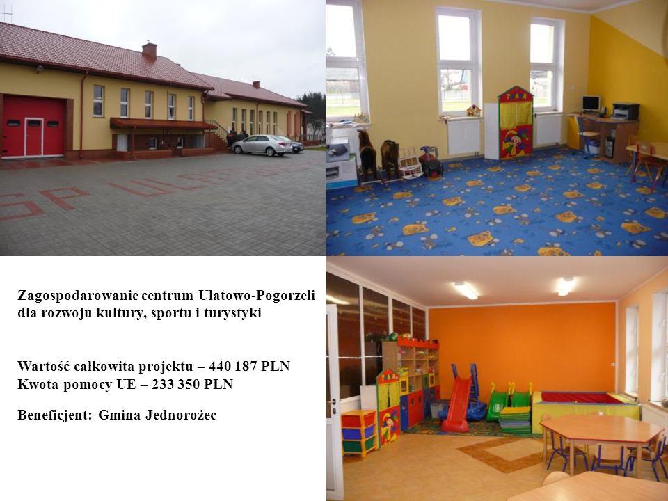 18 Beneficjent: Gmina Jednorożec Zagospodarowanie centrum Ulatowo-Pogorzeli dla rozwoju kultury, sportu i turystyki Wartość całkowita projektu – 440 1