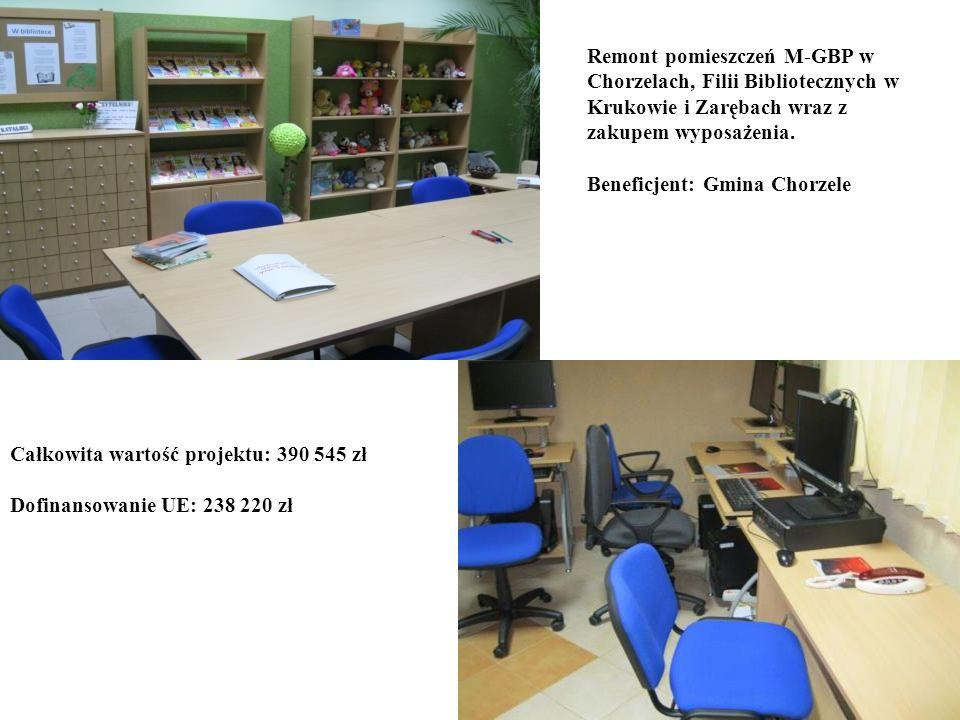Remont pomieszczeń M-GBP w Chorzelach, Filii Bibliotecznych w Krukowie i Zarębach wraz z zakupem wyposażenia. Beneficjent: Gmina Chorzele Całkowita wa