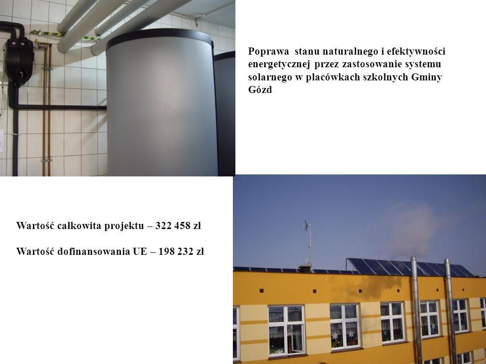 Poprawa stanu naturalnego i efektywności energetycznej przez zastosowanie systemu solarnego w placówkach szkolnych Gminy Gózd Wartość całkowita projek