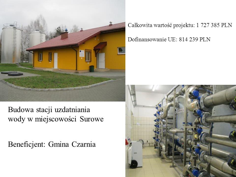 32 Budowa stacji uzdatniania wody w miejscowości Surowe Beneficjent: Gmina Czarnia Całkowita wartość projektu: 1 727 385 PLN Dofinansowanie UE: 814 23
