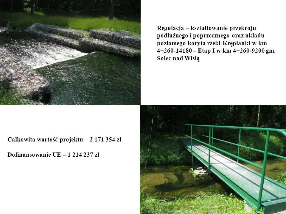 Regulacja – kształtowanie przekroju podłużnego i poprzecznego oraz układu poziomego koryta rzeki Krępianki w km 4+260-14180 – Etap I w km 4+260-9200 g