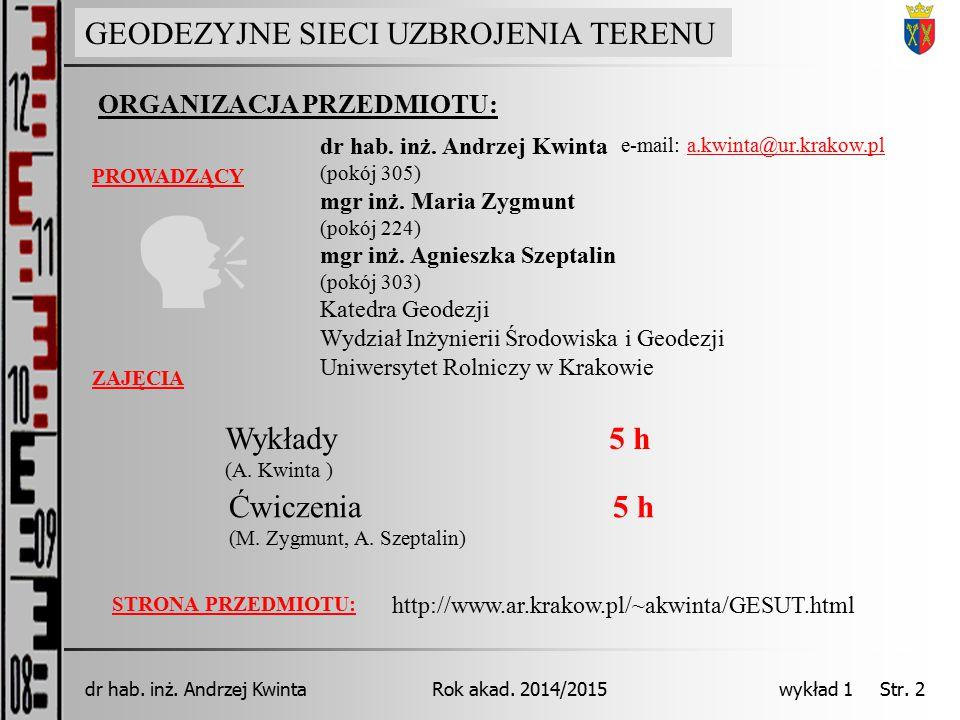 GEODEZJA INŻYNIERYJNA Rok akad. 2014/2015dr hab. inż. Andrzej Kwinta wykład 1 Str. 2 ORGANIZACJA PRZEDMIOTU: PROWADZĄCY GEODEZYJNE SIECI UZBROJENIA TE