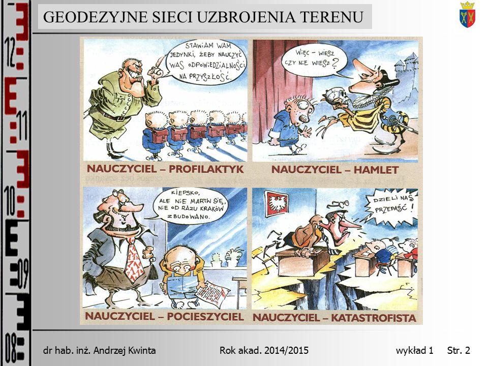 GEODEZJA INŻYNIERYJNA Rok akad. 2014/2015dr hab. inż. Andrzej Kwinta wykład 1 Str. 2 GEODEZYJNE SIECI UZBROJENIA TERENU