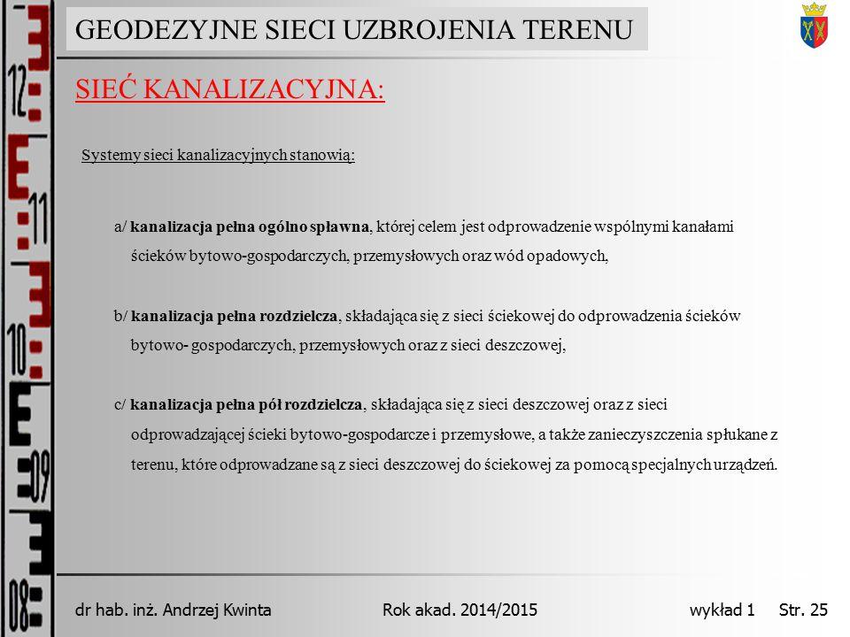 GEODEZJA INŻYNIERYJNA Rok akad. 2014/2015dr hab. inż. Andrzej Kwinta wykład 1 Str. 25 SIEĆ KANALIZACYJNA: GEODEZYJNE SIECI UZBROJENIA TERENU Systemy s