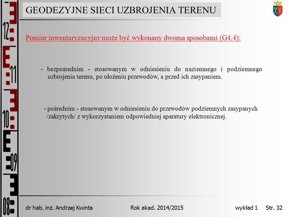 GEODEZJA INŻYNIERYJNA Rok akad. 2014/2015dr hab. inż. Andrzej Kwinta wykład 1 Str. 32 GEODEZYJNE SIECI UZBROJENIA TERENU Pomiar inwentaryzacyjny może