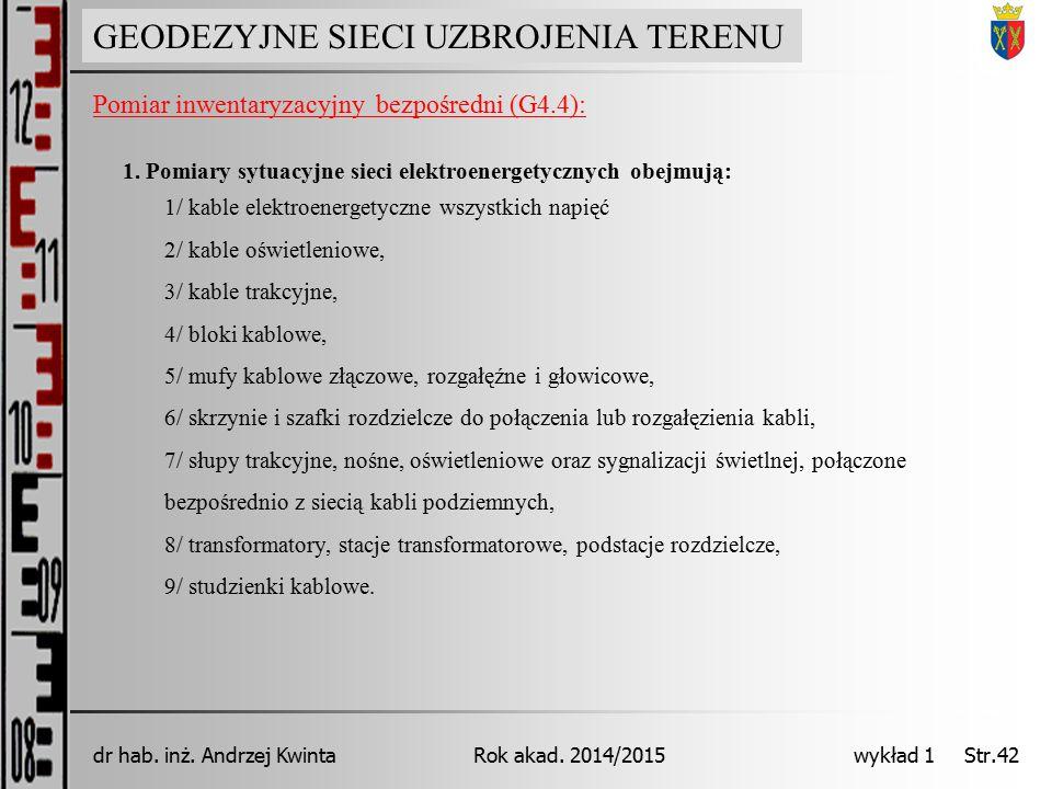 GEODEZJA INŻYNIERYJNA Rok akad. 2014/2015dr hab. inż. Andrzej Kwinta wykład 1 Str.42 GEODEZYJNE SIECI UZBROJENIA TERENU Pomiar inwentaryzacyjny bezpoś
