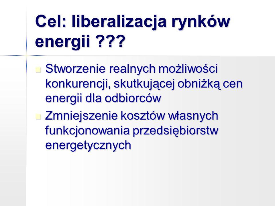 Cel: liberalizacja rynków energii ??? Stworzenie realnych możliwości konkurencji, skutkującej obniżką cen energii dla odbiorców Stworzenie realnych mo