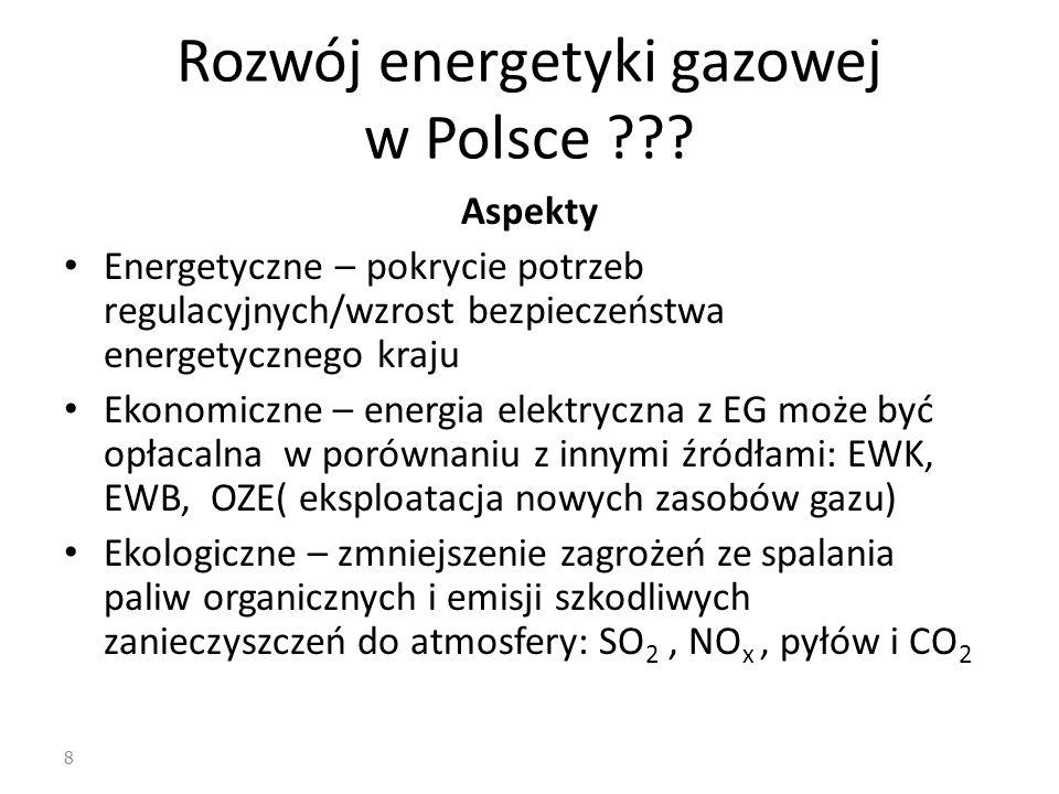 8 Rozwój energetyki gazowej w Polsce ??? Aspekty Energetyczne – pokrycie potrzeb regulacyjnych/wzrost bezpieczeństwa energetycznego kraju Ekonomiczne
