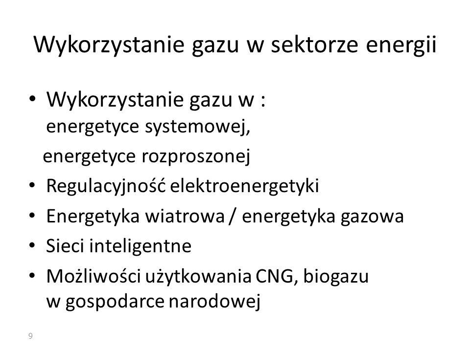 Wykorzystanie gazu w sektorze energii Wykorzystanie gazu w : energetyce systemowej, energetyce rozproszonej Regulacyjność elektroenergetyki Energetyka