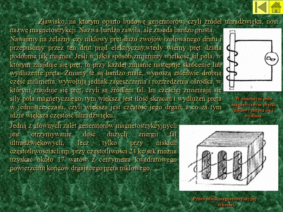 Zjawisko, na którym oparto budowę generatorów, czyli źródeł ultradźwięku, nosi nazwę magnetostrykcji. Nazwa bardzo zawiła, ale zasada bardzo prosta. J