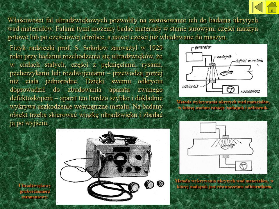 Właściwości fal ultradźwiękowych pozwoliły na zastosowanie ich do badania ukrytych wad materiałów. Falami tymi możemy badać materiały w stanie surowym