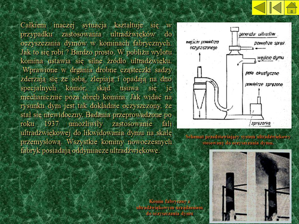 Całkiem inaczej sytuacja kształtuje się w przypadku zastosowania ultradźwięków do oczyszczania dymów w kominach fabrycznych. Jak to się robi ? Bardzo