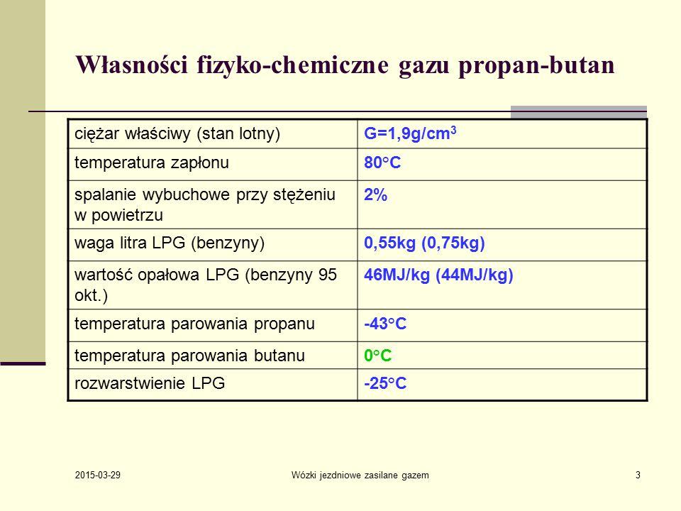 2015-03-29 Wózki jezdniowe zasilane gazem3 Własności fizyko-chemiczne gazu propan-butan ciężar właściwy (stan lotny)G=1,9g/cm 3 temperatura zapłonu80°C spalanie wybuchowe przy stężeniu w powietrzu 2% waga litra LPG (benzyny)0,55kg (0,75kg) wartość opałowa LPG (benzyny 95 okt.) 46MJ/kg (44MJ/kg) temperatura parowania propanu-43°C temperatura parowania butanu0°C0°C rozwarstwienie LPG-25°C