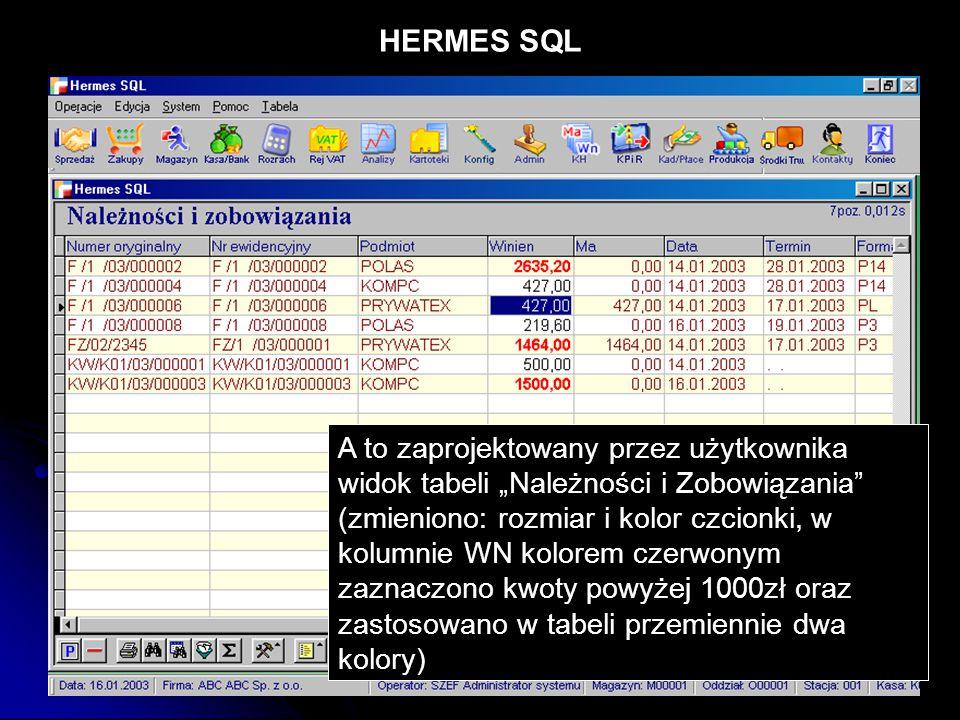 """HERMES SQL A to zaprojektowany przez użytkownika widok tabeli """"Należności i Zobowiązania"""" (zmieniono: rozmiar i kolor czcionki, w kolumnie WN kolorem"""