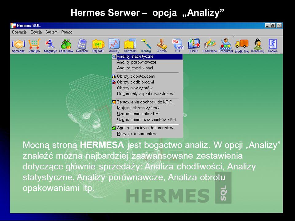 """Hermes Serwer – opcja """"Analizy"""" Mocną stroną HERMESA jest bogactwo analiz. W opcji """"Analizy"""" znaleźć można najbardziej zaawansowane zestawienia dotycz"""