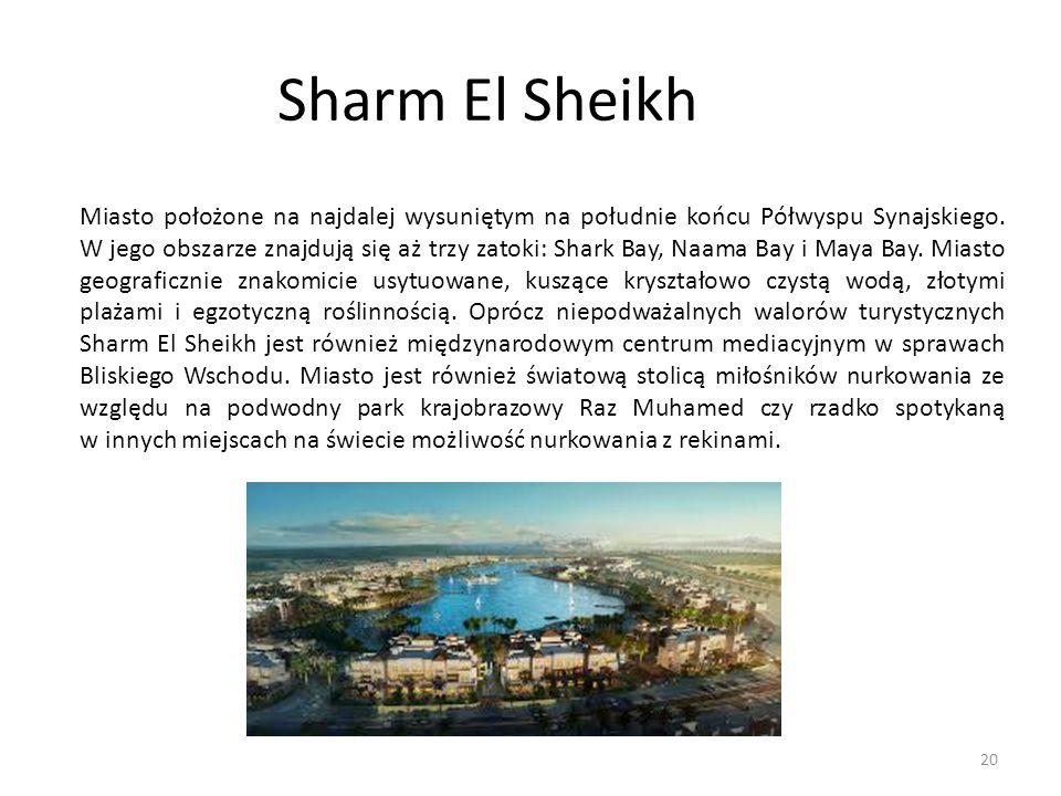 Sharm El Sheikh Miasto położone na najdalej wysuniętym na południe końcu Półwyspu Synajskiego. W jego obszarze znajdują się aż trzy zatoki: Shark Bay,
