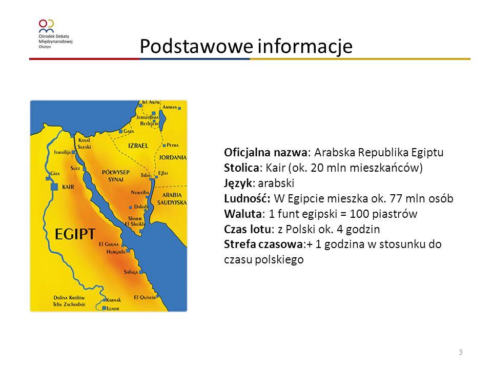 Podstawowe informacje Oficjalna nazwa: Arabska Republika Egiptu Stolica: Kair (ok. 20 mln mieszkańców) Język: arabski Ludność: W Egipcie mieszka ok. 7