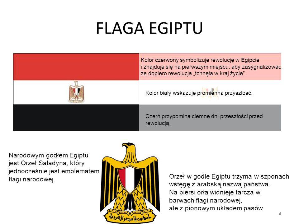 FLAGA EGIPTU Czerń przypomina ciemne dni przeszłości przed rewolucją. Kolor czerwony symbolizuje rewolucję w Egipcie i znajduje się na pierwszym miejs