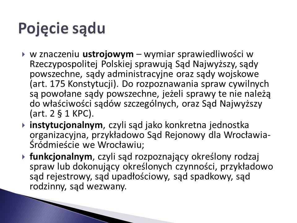  w znaczeniu ustrojowym – wymiar sprawiedliwości w Rzeczypospolitej Polskiej sprawują Sąd Najwyższy, sądy powszechne, sądy administracyjne oraz sądy wojskowe (art.