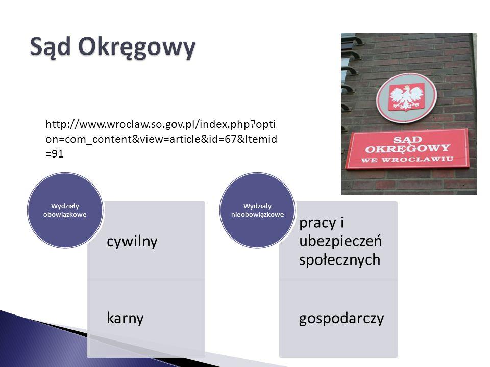 cywilny karny Wydziały obowiązkowe pracy i ubezpieczeń społecznych gospodarczy Wydziały nieobowiązkowe http://www.wroclaw.so.gov.pl/index.php?opti on=