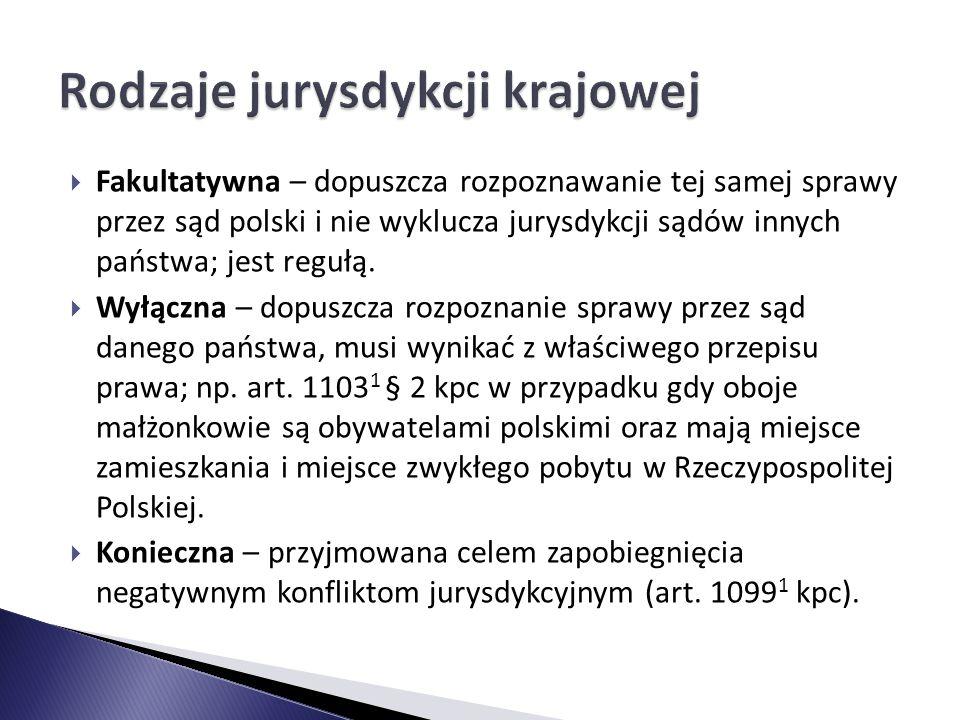  Fakultatywna – dopuszcza rozpoznawanie tej samej sprawy przez sąd polski i nie wyklucza jurysdykcji sądów innych państwa; jest regułą.  Wyłączna –