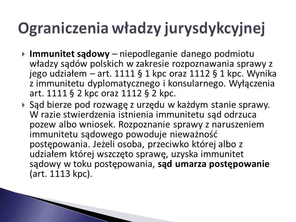  Immunitet sądowy – niepodleganie danego podmiotu władzy sądów polskich w zakresie rozpoznawania sprawy z jego udziałem – art. 1111 § 1 kpc oraz 1112