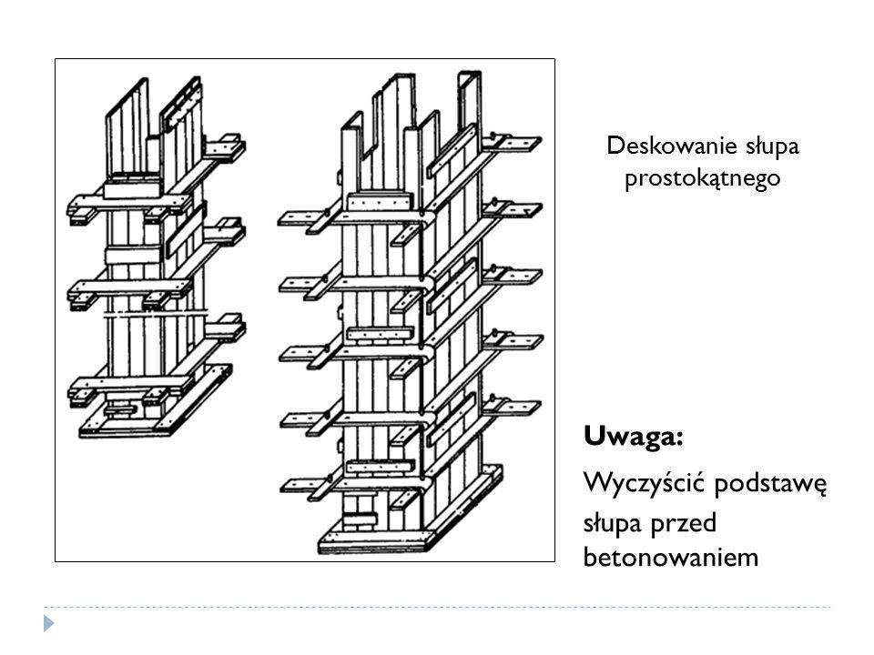 Deskowanie słupa prostokątnego Uwaga: Wyczyścić podstawę słupa przed betonowaniem