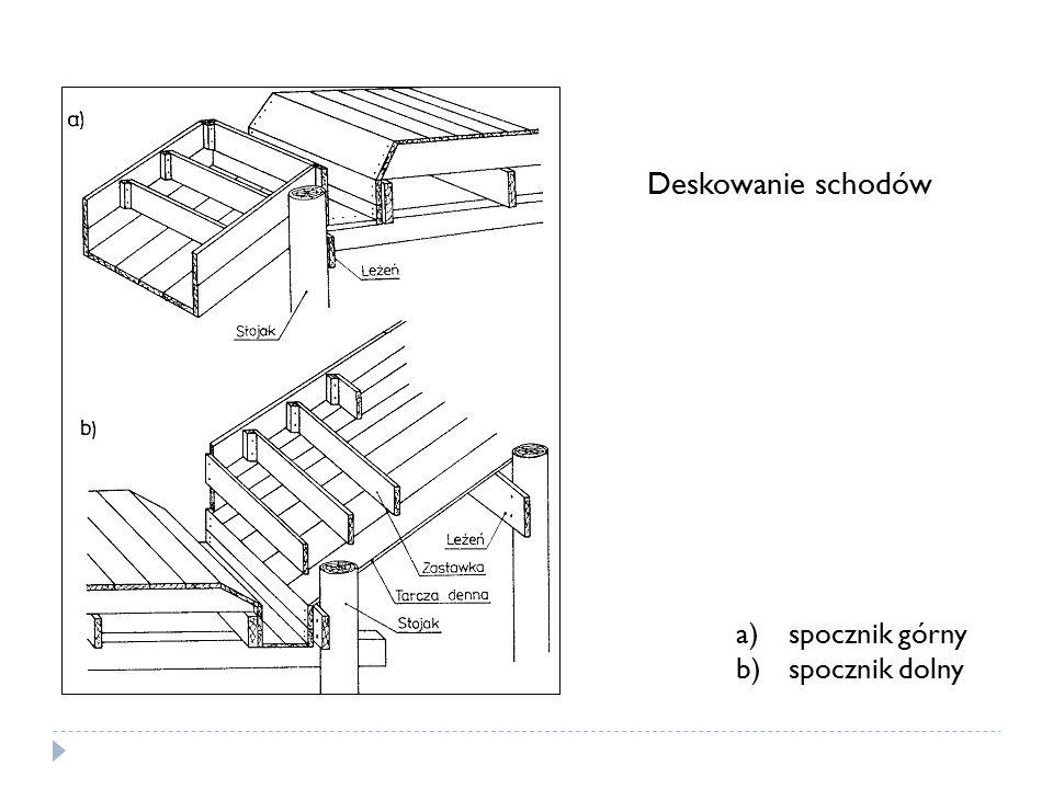 Deskowanie schodów a)spocznik górny b)spocznik dolny
