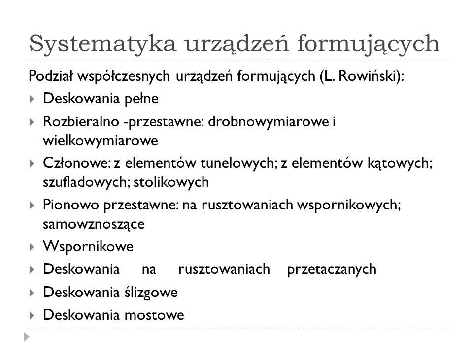 Systematyka urządzeń formujących Podział współczesnych urządzeń formujących (L. Rowiński):  Deskowania pełne  Rozbieralno -przestawne: drobnowymiaro