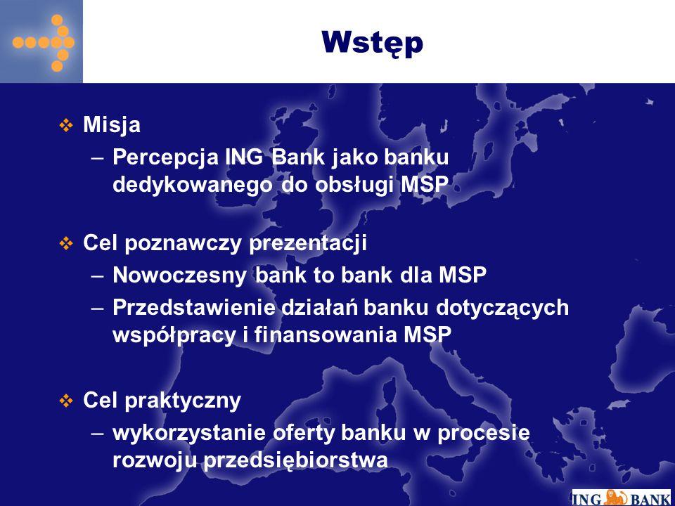  Misja –Percepcja ING Bank jako banku dedykowanego do obsługi MSP Wstęp  Cel poznawczy prezentacji –Nowoczesny bank to bank dla MSP –Przedstawienie