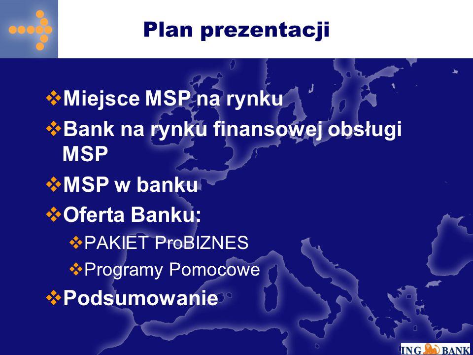 Plan prezentacji  Miejsce MSP na rynku  Bank na rynku finansowej obsługi MSP  MSP w banku  Oferta Banku:  PAKIET ProBIZNES  Programy Pomocowe 