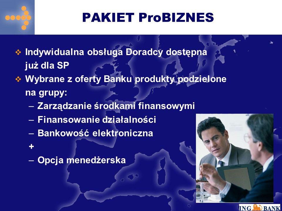  Indywidualna obsługa Doradcy dostępna już dla SP  Wybrane z oferty Banku produkty podzielone na grupy: –Zarządzanie środkami finansowymi –Finansowa