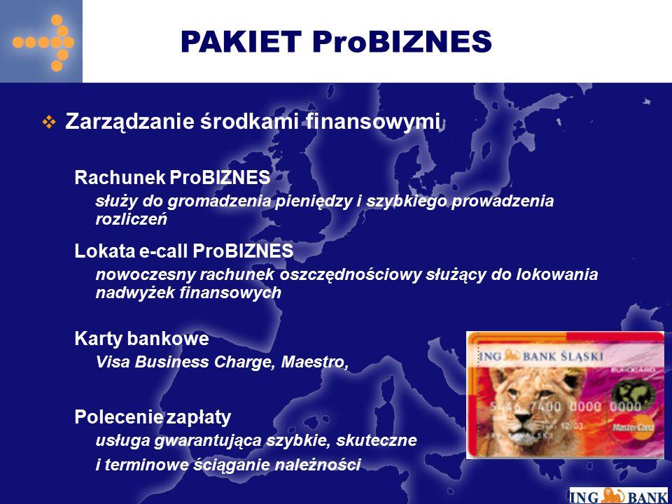  Finansowanie działalności Debet ProBIZNES Przeznaczony do finansowania bieżącej działalności (maksymalna kwota – 7 krotne średnie dzienne wpływy na rachunek bieżący) Kredyt w Rachunku ProBIZNES Przeznaczony do finansowania bieżącej działalności (maksymalna kwota – 15 krotne średnie dzienne wpływy na rachunek bieżący) Kredyt Inwestycyjny ProBIZNES Finansowanie fabrycznie nowych maszyn i urządzeń Kredyt ze środków EBOR oraz inne formy finansowania transakcji PAKIET ProBIZNES