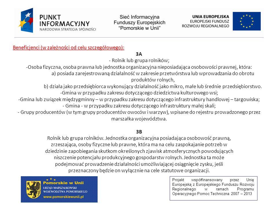 Projekt współfinansowany przez Unię Europejską z Europejskiego Funduszu Rozwoju Regionalnego w ramach Programu Operacyjnego Pomoc Techniczna 2007 – 2013 Beneficjenci (w zależności od celu szczegółowego): 3A - Rolnik lub grupa rolników; -Osoba fizyczna, osoba prawna lub jednostka organizacyjna nieposiadająca osobowości prawnej, która: a) posiada zarejestrowaną działalność w zakresie przetwórstwa lub wprowadzania do obrotu produktów rolnych, b) działa jako przedsiębiorca wykonujący działalność jako mikro, małe lub średnie przedsiębiorstwo.