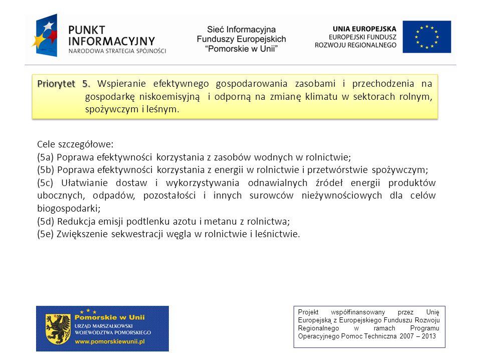 Projekt współfinansowany przez Unię Europejską z Europejskiego Funduszu Rozwoju Regionalnego w ramach Programu Operacyjnego Pomoc Techniczna 2007 – 2013 Priorytet 5.