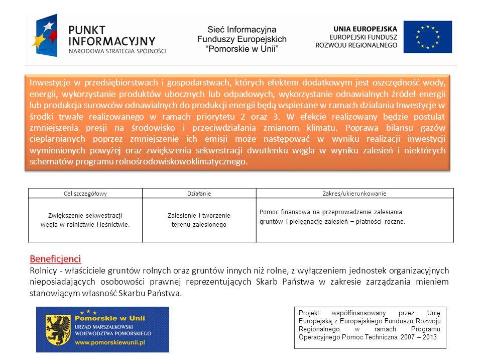 Projekt współfinansowany przez Unię Europejską z Europejskiego Funduszu Rozwoju Regionalnego w ramach Programu Operacyjnego Pomoc Techniczna 2007 – 2013 Inwestycje w przedsiębiorstwach i gospodarstwach, których efektem dodatkowym jest oszczędność wody, energii, wykorzystanie produktów ubocznych lub odpadowych, wykorzystanie odnawialnych źródeł energii lub produkcja surowców odnawialnych do produkcji energii będą wspierane w ramach działania Inwestycje w środki trwałe realizowanego w ramach priorytetu 2 oraz 3.