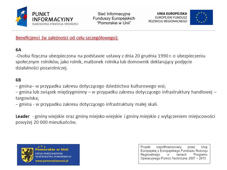 Projekt współfinansowany przez Unię Europejską z Europejskiego Funduszu Rozwoju Regionalnego w ramach Programu Operacyjnego Pomoc Techniczna 2007 – 2013 Beneficjenci (w zależności od celu szczegółowego): 6A -Osoba fizyczna ubezpieczona na podstawie ustawy z dnia 20 grudnia 1990 r.