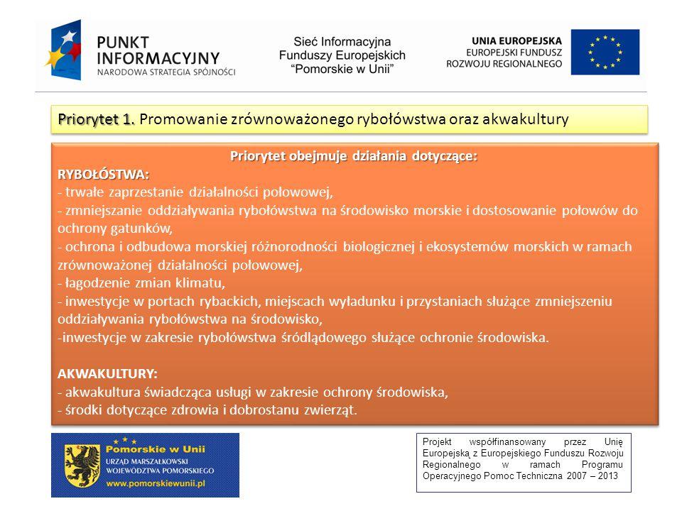 Projekt współfinansowany przez Unię Europejską z Europejskiego Funduszu Rozwoju Regionalnego w ramach Programu Operacyjnego Pomoc Techniczna 2007 – 2013 Priorytet 1.