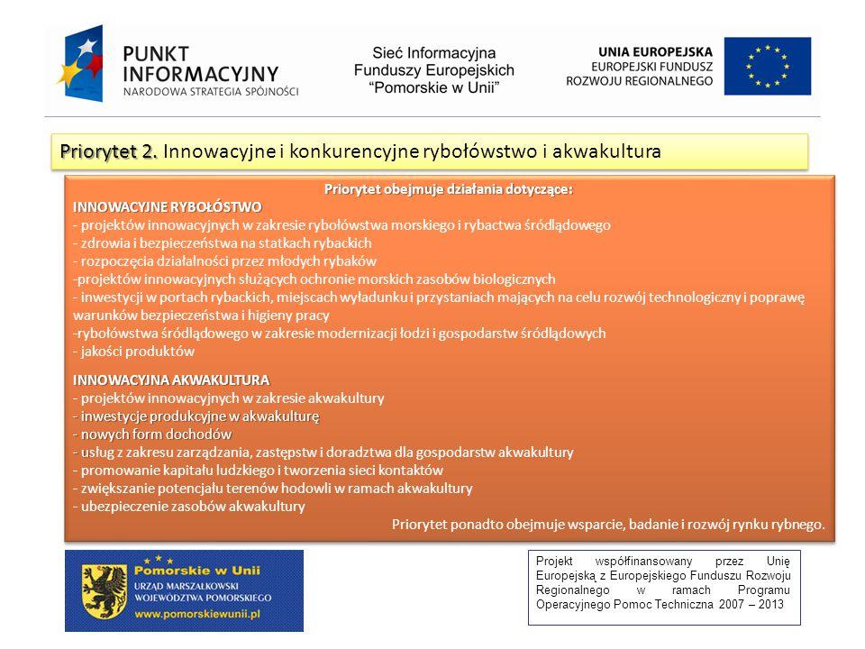 Projekt współfinansowany przez Unię Europejską z Europejskiego Funduszu Rozwoju Regionalnego w ramach Programu Operacyjnego Pomoc Techniczna 2007 – 2013 Priorytet 2.
