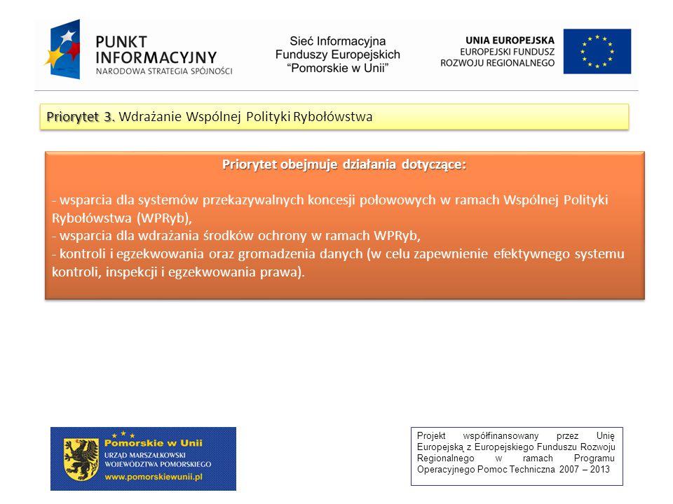 Projekt współfinansowany przez Unię Europejską z Europejskiego Funduszu Rozwoju Regionalnego w ramach Programu Operacyjnego Pomoc Techniczna 2007 – 2013 Priorytet 3.