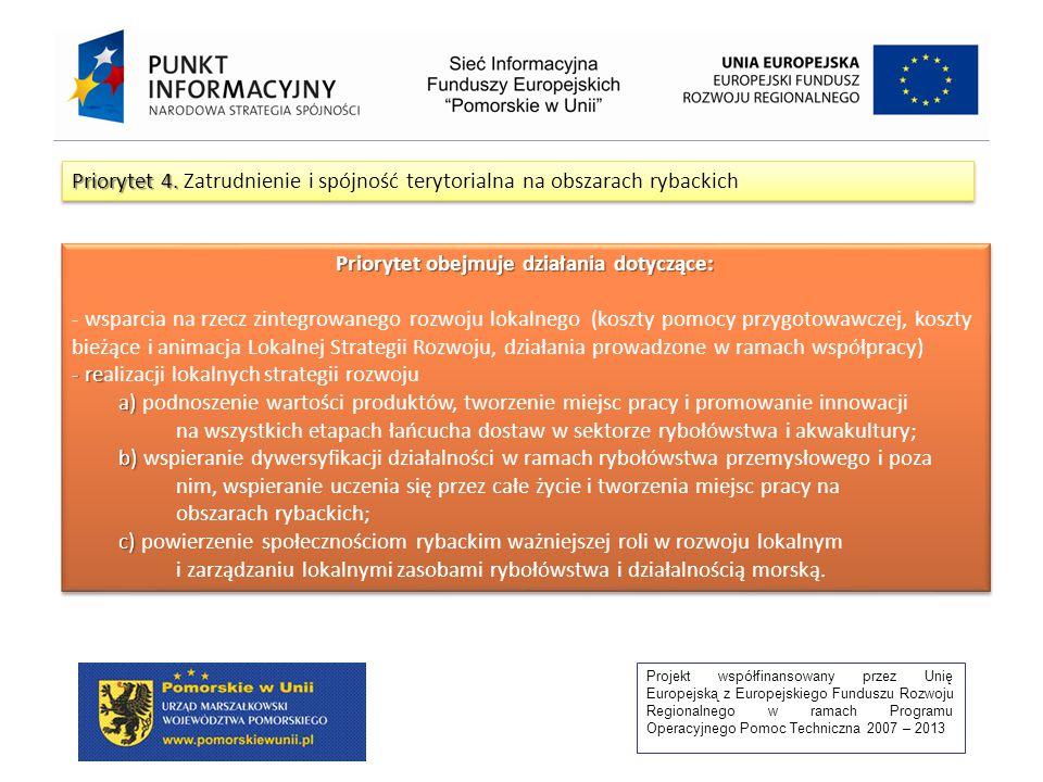 Projekt współfinansowany przez Unię Europejską z Europejskiego Funduszu Rozwoju Regionalnego w ramach Programu Operacyjnego Pomoc Techniczna 2007 – 2013 Priorytet 4.