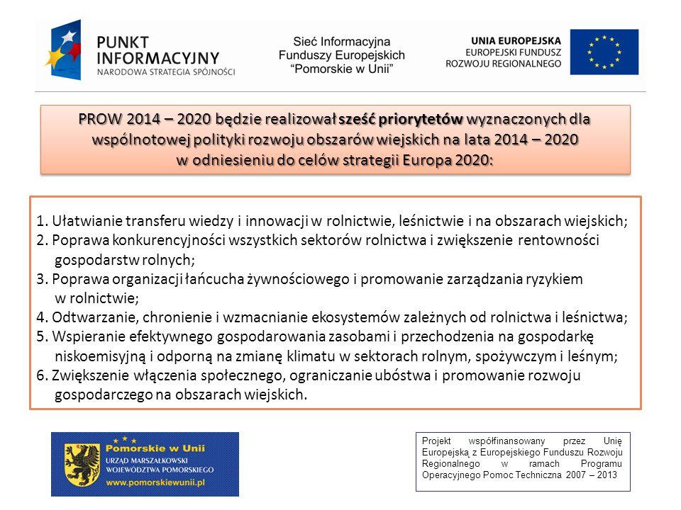 Projekt współfinansowany przez Unię Europejską z Europejskiego Funduszu Rozwoju Regionalnego w ramach Programu Operacyjnego Pomoc Techniczna 2007 – 2013 1.