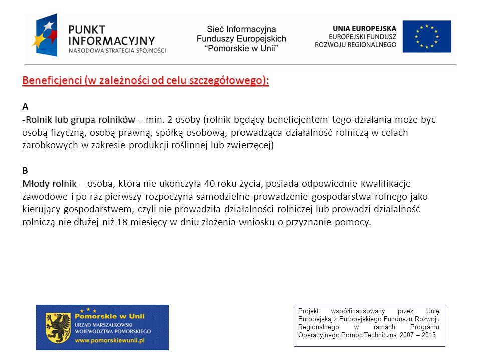 Projekt współfinansowany przez Unię Europejską z Europejskiego Funduszu Rozwoju Regionalnego w ramach Programu Operacyjnego Pomoc Techniczna 2007 – 2013 Beneficjenci (w zależności od celu szczegółowego): A -Rolnik lub grupa rolników -Rolnik lub grupa rolników – min.