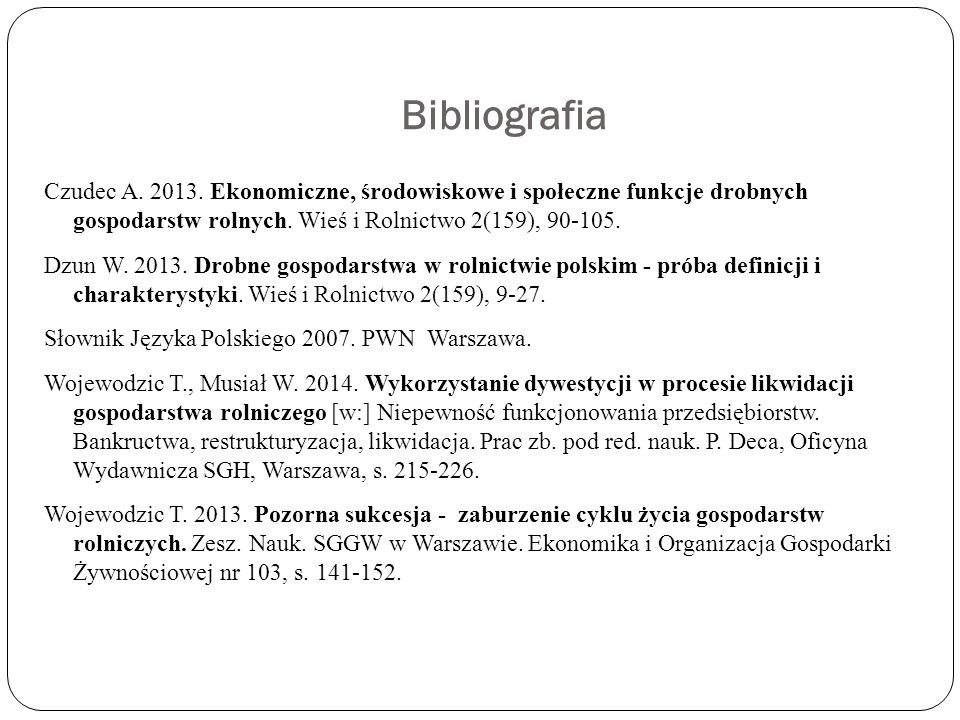 Bibliografia Czudec A. 2013. Ekonomiczne, środowiskowe i społeczne funkcje drobnych gospodarstw rolnych. Wieś i Rolnictwo 2(159), 90-105. Dzun W. 2013