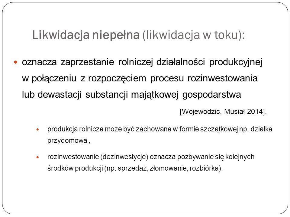 Likwidacja niepełna (likwidacja w toku): oznacza zaprzestanie rolniczej działalności produkcyjnej w połączeniu z rozpoczęciem procesu rozinwestowania