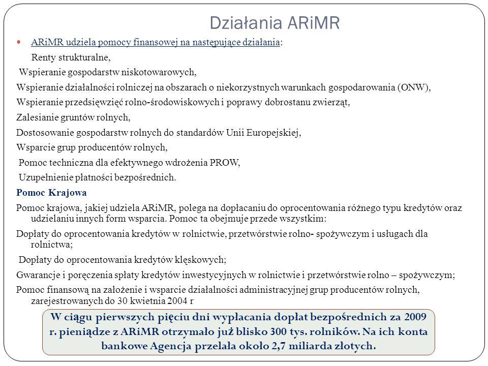 Działania ARiMR ARiMR udziela pomocy finansowej na następujące działania: Renty strukturalne, Wspieranie gospodarstw niskotowarowych, Wspieranie dział