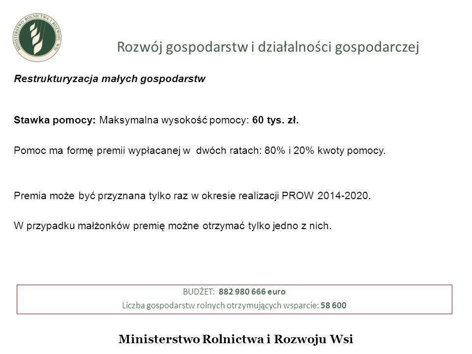 Rozwój gospodarstw i działalności gospodarczej Ministerstwo Rolnictwa i Rozwoju Wsi Restrukturyzacja małych gospodarstw Stawka pomocy: Maksymalna wysokość pomocy: 60 tys.