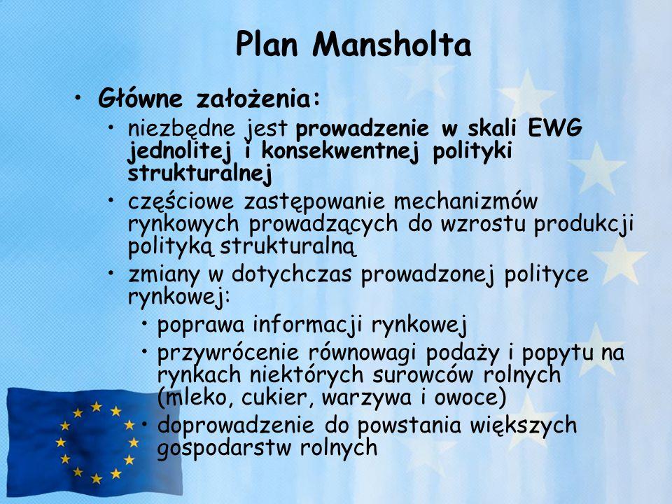Plan Mansholta Główne założenia: niezbędne jest prowadzenie w skali EWG jednolitej i konsekwentnej polityki strukturalnej częściowe zastępowanie mecha